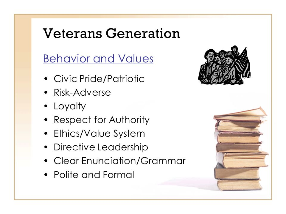 Veterans Generation Behavior and Values Civic Pride/Patriotic Risk-Adverse Loyalty Respect for Authority Ethics/Value System Directive Leadership Clear Enunciation/Grammar Polite and Formal