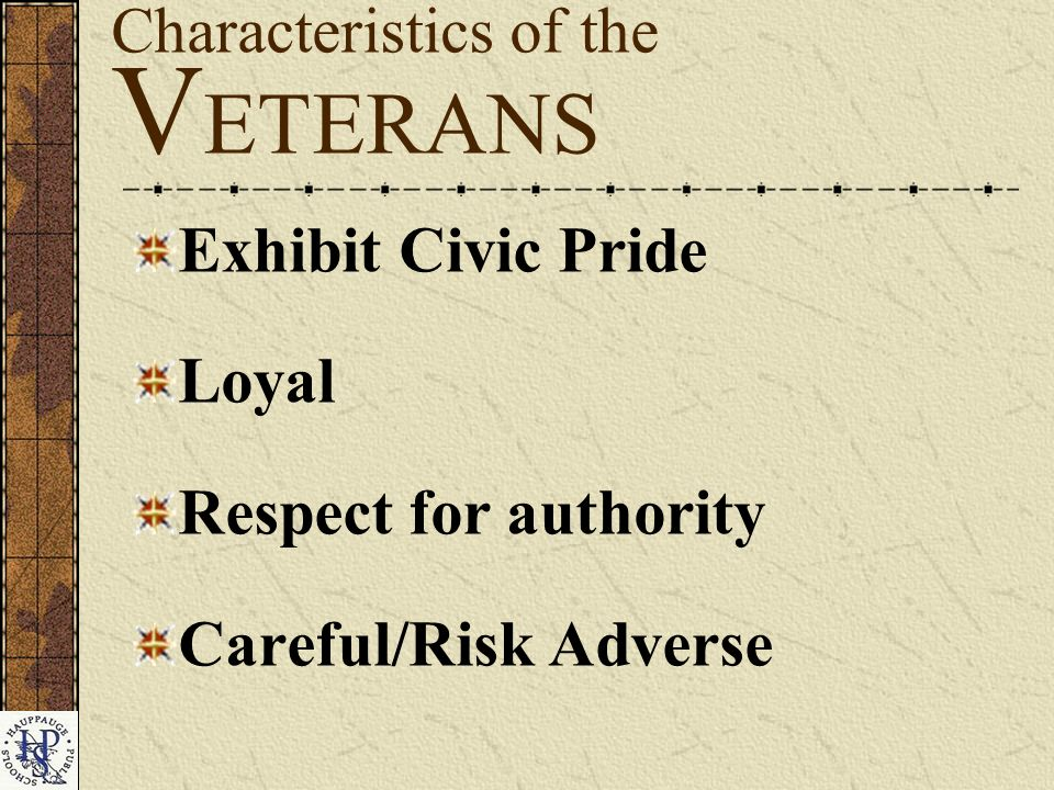 Characteristics of the V ETERANS Exhibit Civic Pride Loyal Respect for authority Careful/Risk Adverse