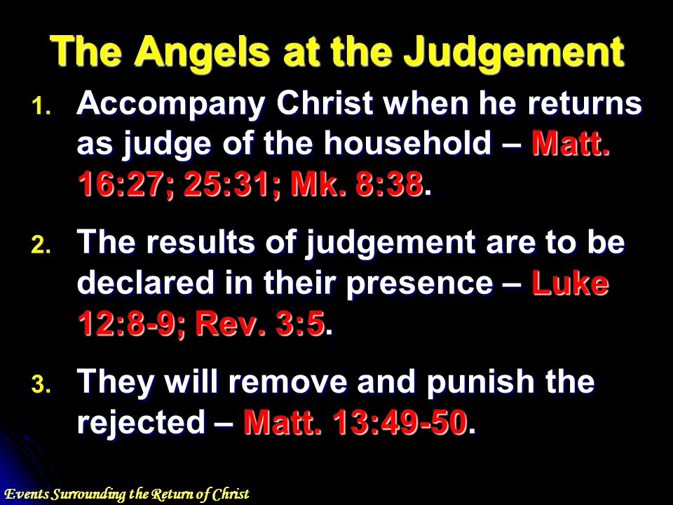 Events Surrounding the Return of Christ The Angels at the Judgement 1.