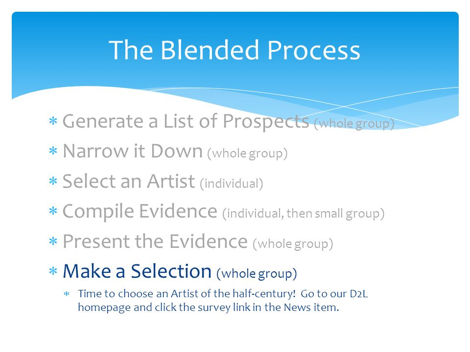 Generate a List of Prospects (whole group) Narrow it Down (whole group) Select an Artist (individual) Compile Evidence (individual, then small group) Present the Evidence (whole group) Make a Selection (whole group) Time to choose an Artist of the half-century.