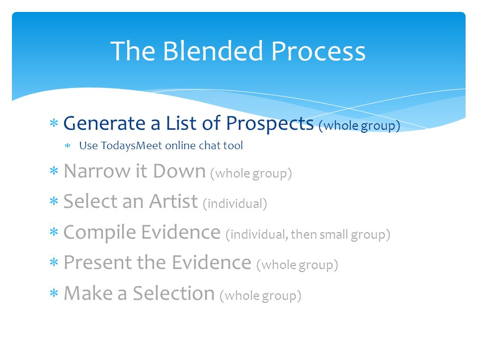 Generate a List of Prospects (whole group) Use TodaysMeet online chat tool Narrow it Down (whole group) Select an Artist (individual) Compile Evidence (individual, then small group) Present the Evidence (whole group) Make a Selection (whole group) The Blended Process