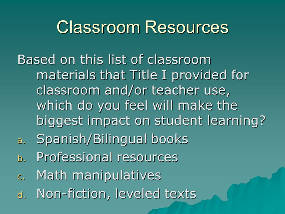 Classroom Resources Based on this list of classroom materials that Title I provided for classroom and/or teacher use, which do you feel will make the biggest impact on student learning.