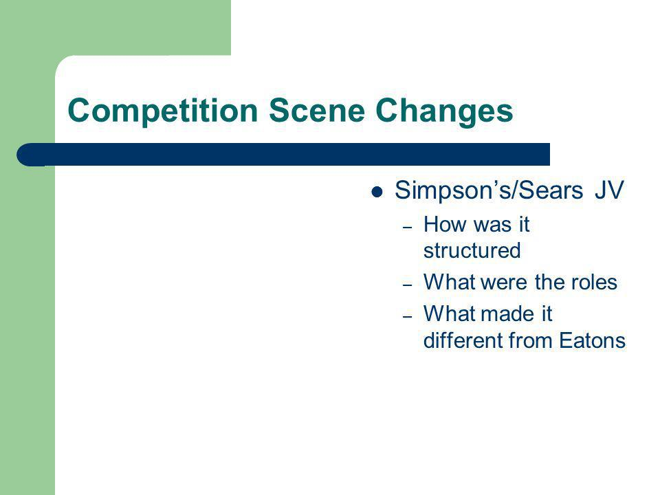 Competition Scene Changes Simpsons/Sears JV – How was it structured – What were the roles – What made it different from Eatons