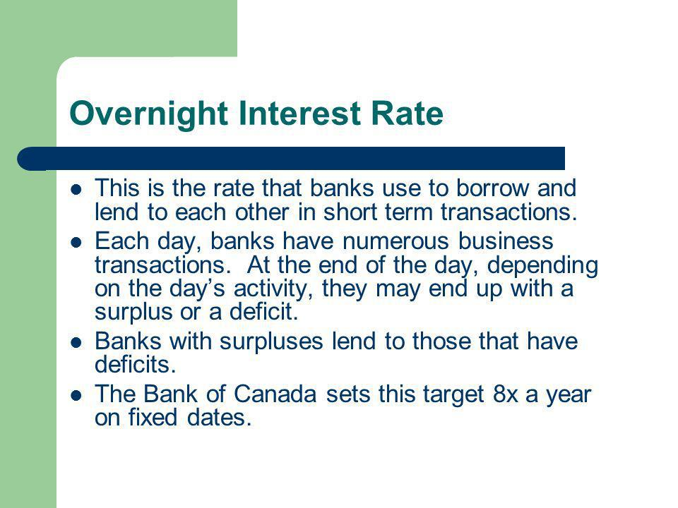 Overnight Interest Rate This is the rate that banks use to borrow and lend to each other in short term transactions.