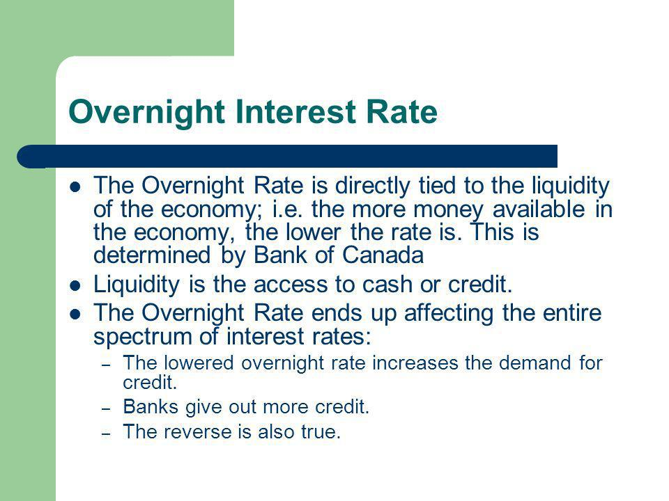 Overnight Interest Rate The Overnight Rate is directly tied to the liquidity of the economy; i.e.