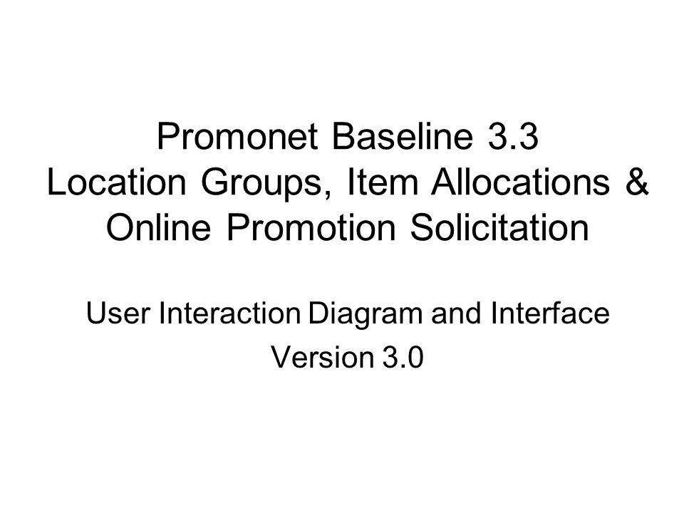 Promonet Baseline 3.3 Location Groups, Item Allocations & Online Promotion Solicitation User Interaction Diagram and Interface Version 3.0