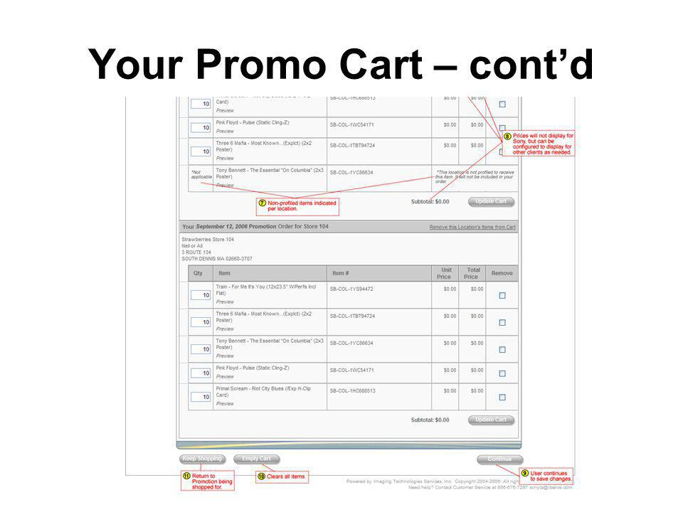 Your Promo Cart – contd