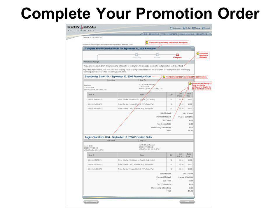 Complete Your Promotion Order