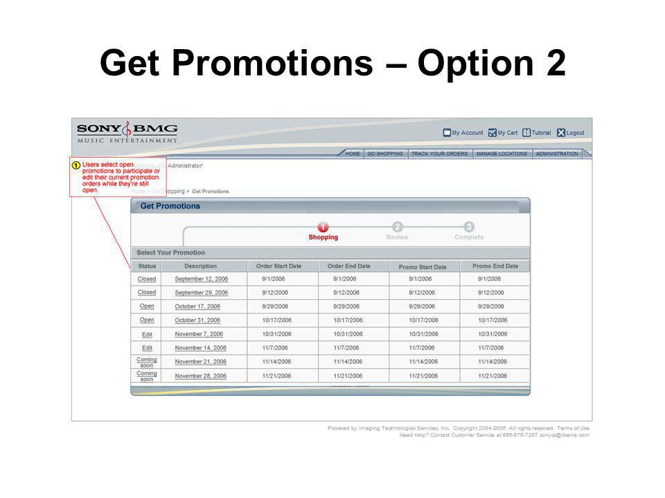 Get Promotions – Option 2