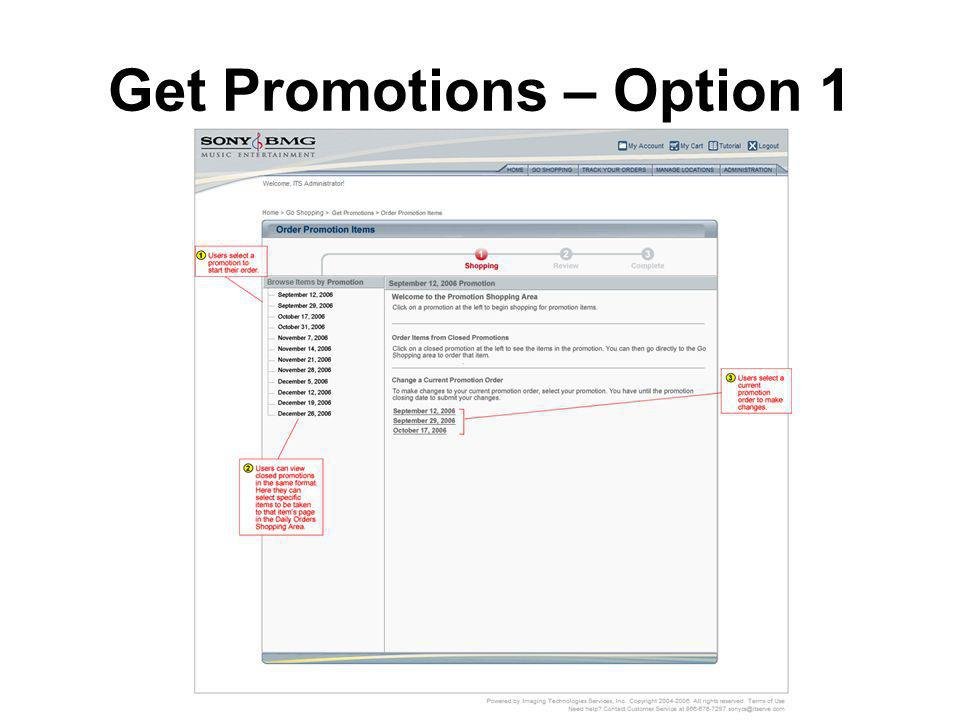 Get Promotions – Option 1