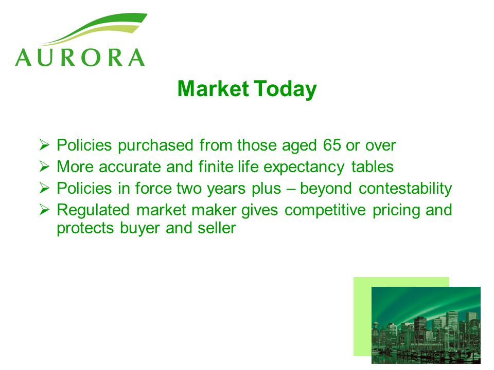 Market Today Policies purchased from those aged 65 or over More accurate and finite life expectancy tables Policies in force two years plus – beyond contestability Regulated market maker gives competitive pricing and protects buyer and seller