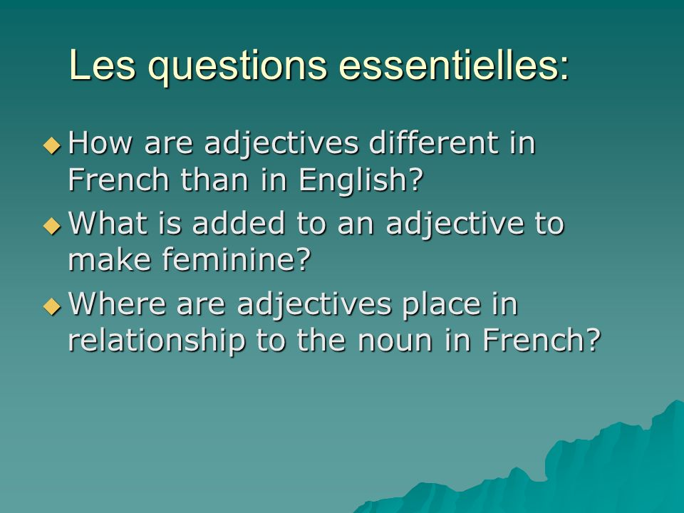 Les questions essentielles: How are adjectives different in French than in English.