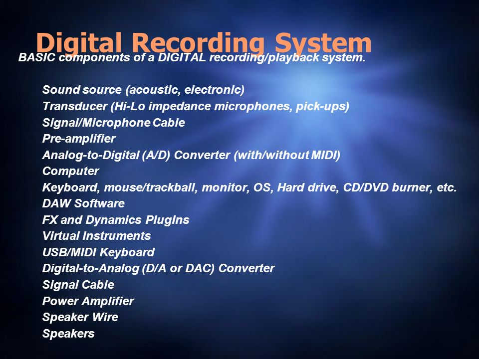 Digital Recording System BASIC components of a DIGITAL recording/playback system.