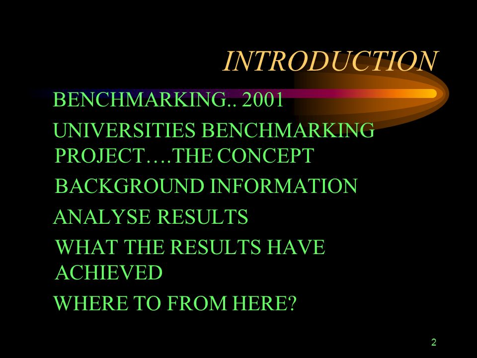 2 INTRODUCTION BENCHMARKING..