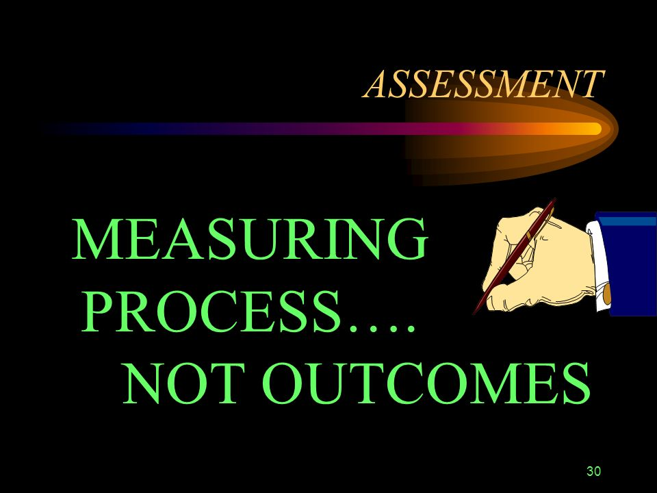 30 ASSESSMENT MEASURING PROCESS…. NOT OUTCOMES