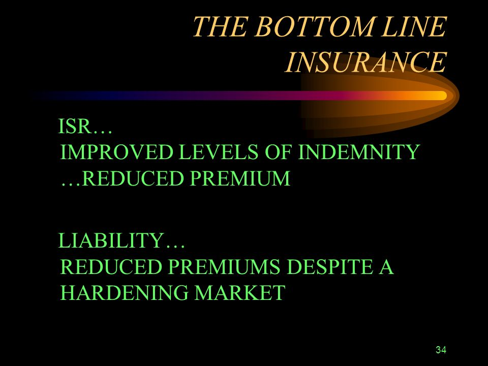 34 THE BOTTOM LINE INSURANCE ISR… IMPROVED LEVELS OF INDEMNITY …REDUCED PREMIUM LIABILITY… REDUCED PREMIUMS DESPITE A HARDENING MARKET