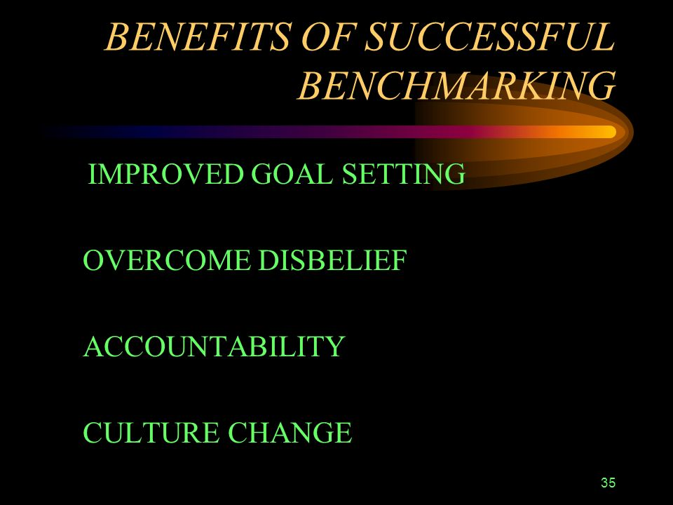 35 BENEFITS OF SUCCESSFUL BENCHMARKING IMPROVED GOAL SETTING OVERCOME DISBELIEF ACCOUNTABILITY CULTURE CHANGE
