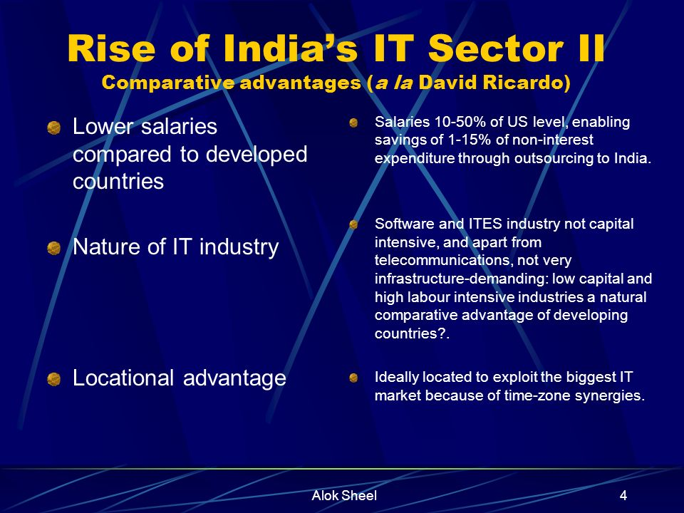 Alok Sheel4 Rise of Indias IT Sector II Comparative advantages (a la David Ricardo) Lower salaries compared to developed countries Nature of IT industry Locational advantage Salaries 10-50% of US level, enabling savings of 1-15% of non-interest expenditure through outsourcing to India.