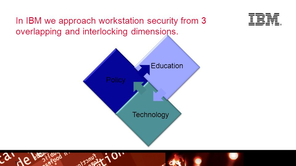 © 2012 IBM Corporation Building a smarter planet In IBM we approach workstation security from 3 overlapping and interlocking dimensions.