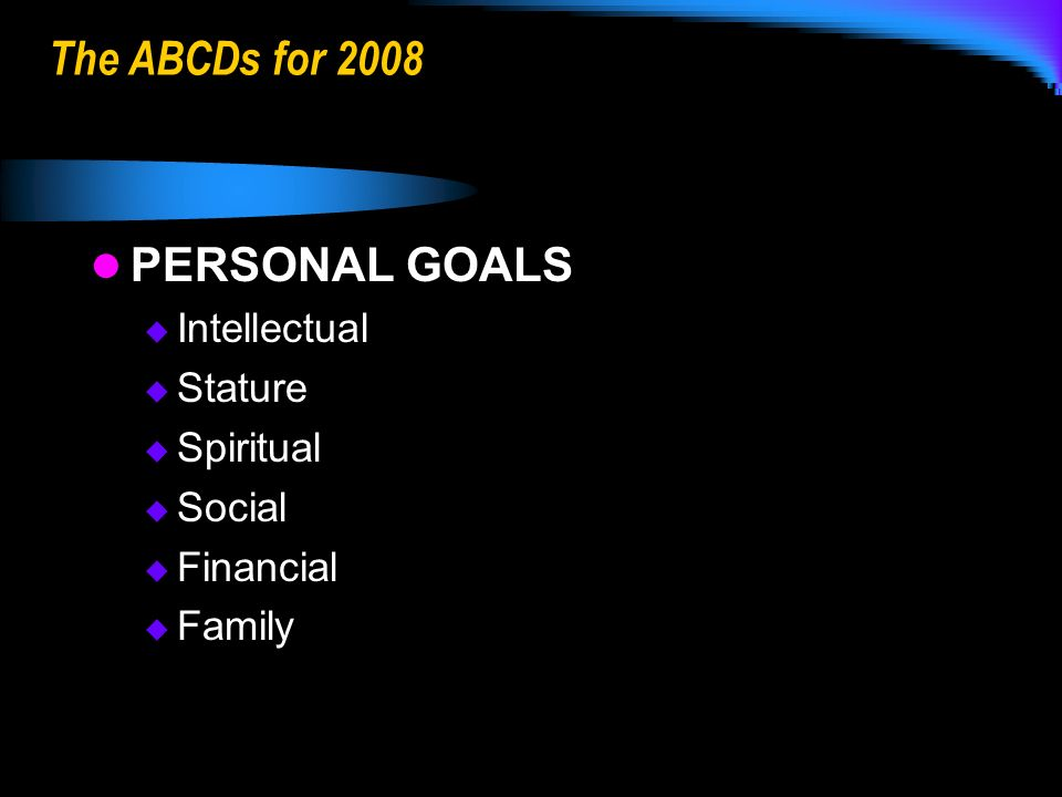 The ABCDs for 2008 PERSONAL GOALS Intellectual Stature Spiritual Social Financial Family