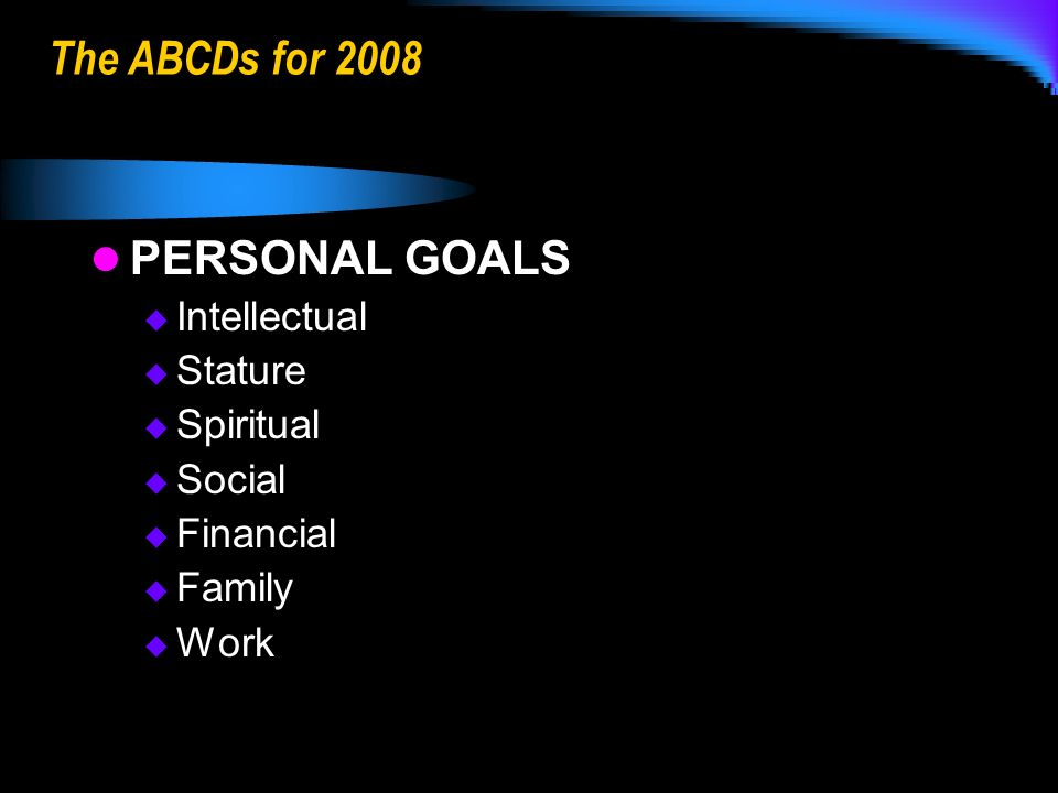 The ABCDs for 2008 PERSONAL GOALS Intellectual Stature Spiritual Social Financial Family Work