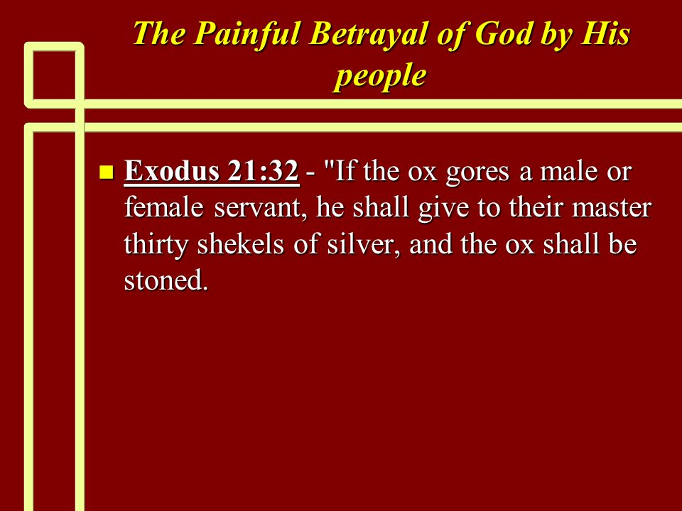 The Painful Betrayal of God by His people n Exodus 21:32 - If the ox gores a male or female servant, he shall give to their master thirty shekels of silver, and the ox shall be stoned.