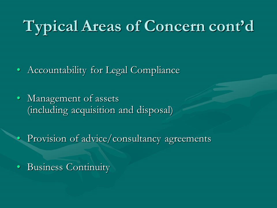 Typical Areas of Concern contd Accountability for Legal ComplianceAccountability for Legal Compliance Management of assets (including acquisition and disposal)Management of assets (including acquisition and disposal) Provision of advice/consultancy agreementsProvision of advice/consultancy agreements Business ContinuityBusiness Continuity