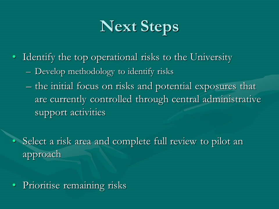 Next Steps Identify the top operational risks to the UniversityIdentify the top operational risks to the University –Develop methodology to identify risks –the initial focus on risks and potential exposures that are currently controlled through central administrative support activities Select a risk area and complete full review to pilot an approachSelect a risk area and complete full review to pilot an approach Prioritise remaining risksPrioritise remaining risks