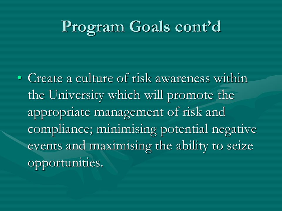 Program Goals contd Create a culture of risk awareness within the University which will promote the appropriate management of risk and compliance; minimising potential negative events and maximising the ability to seize opportunities.Create a culture of risk awareness within the University which will promote the appropriate management of risk and compliance; minimising potential negative events and maximising the ability to seize opportunities.