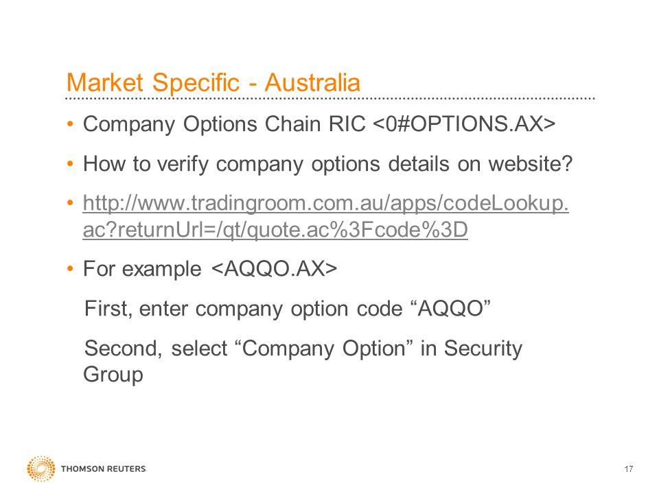 Market Specific - Australia Company Options Chain RIC How to verify company options details on website.