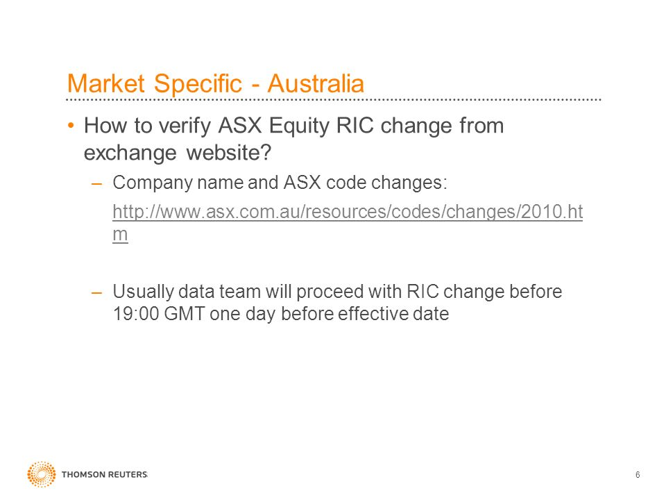 6 How to verify ASX Equity RIC change from exchange website.