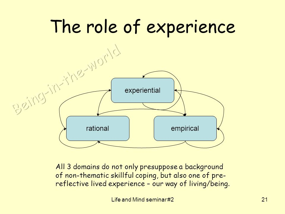 Life and Mind seminar #221 The role of experience rationalempirical experiential All 3 domains do not only presuppose a background of non-thematic skillful coping, but also one of pre- reflective lived experience – our way of living/being.