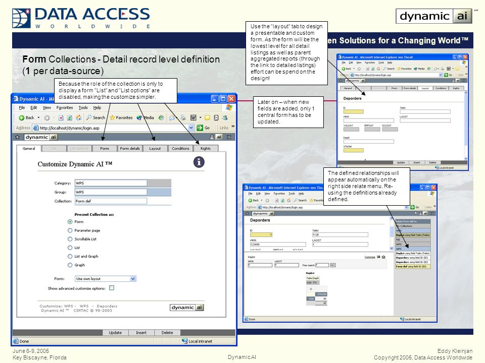 Open Solutions for a Changing World Eddy Kleinjan Copyright 2005, Data Access WorldwideDynamic AI June 6-9, 2005 Key Biscayne, Florida Form Collections - Detail record level definition (1 per data-source) Because the role of the collection is only to display a form List and List options are disabled, making the customize simpler.