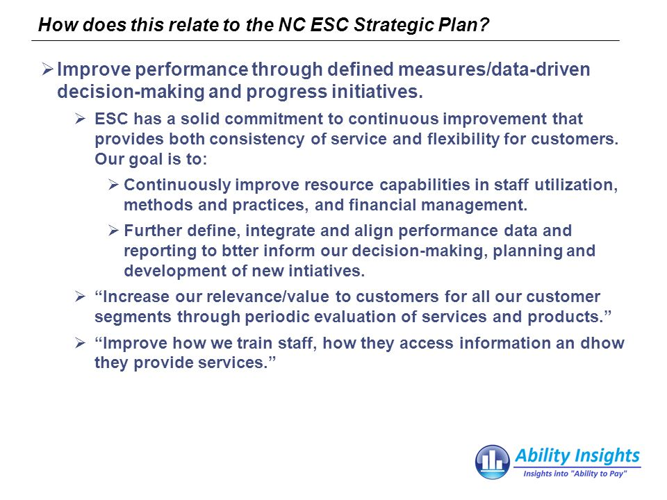 How does this relate to the NC ESC Strategic Plan.