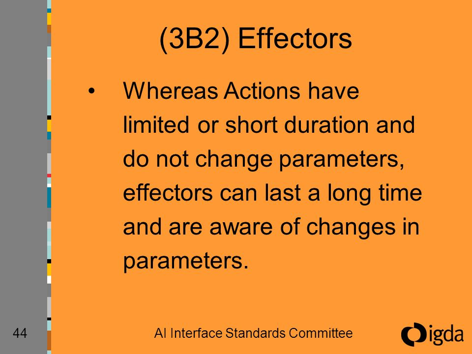 44AI Interface Standards Committee (3B2) Effectors Whereas Actions have limited or short duration and do not change parameters, effectors can last a long time and are aware of changes in parameters.