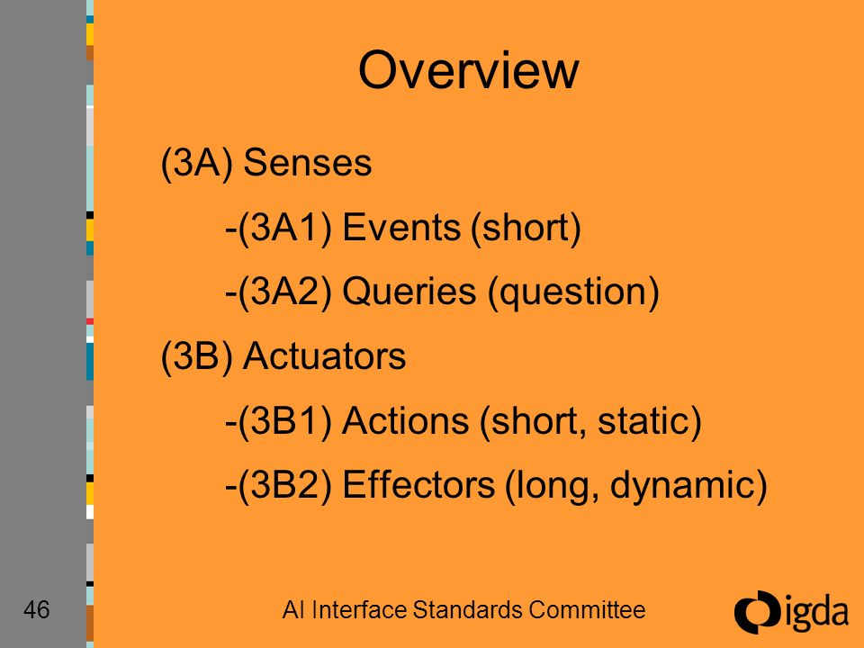 46AI Interface Standards Committee Overview (3A) Senses -(3A1) Events (short) -(3A2) Queries (question) (3B) Actuators -(3B1) Actions (short, static) -(3B2) Effectors (long, dynamic)