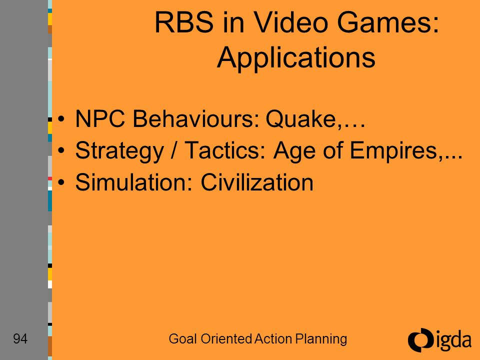 94Goal Oriented Action Planning RBS in Video Games: Applications NPC Behaviours: Quake,… Strategy / Tactics: Age of Empires,...