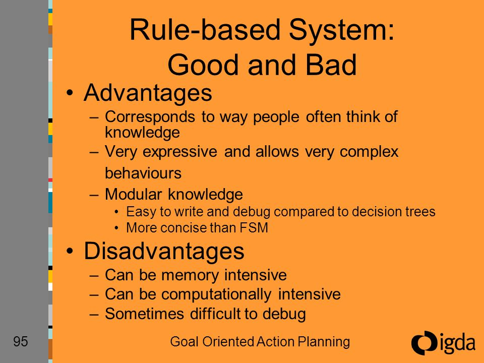 95Goal Oriented Action Planning Rule-based System: Good and Bad Advantages –Corresponds to way people often think of knowledge –Very expressive and allows very complex behaviours –Modular knowledge Easy to write and debug compared to decision trees More concise than FSM Disadvantages –Can be memory intensive –Can be computationally intensive –Sometimes difficult to debug