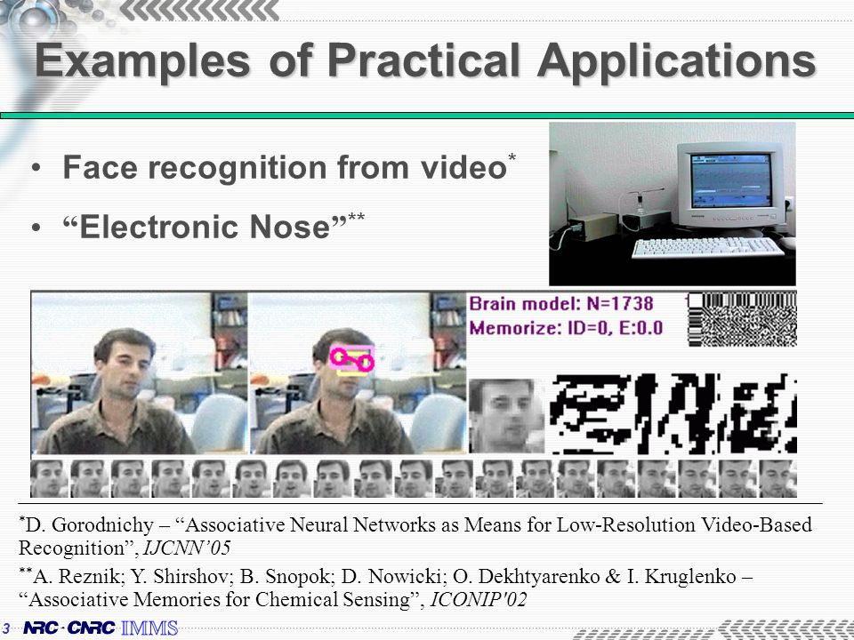 3 Examples of Practical Applications Face recognition from video * Electronic Nose ** * D.