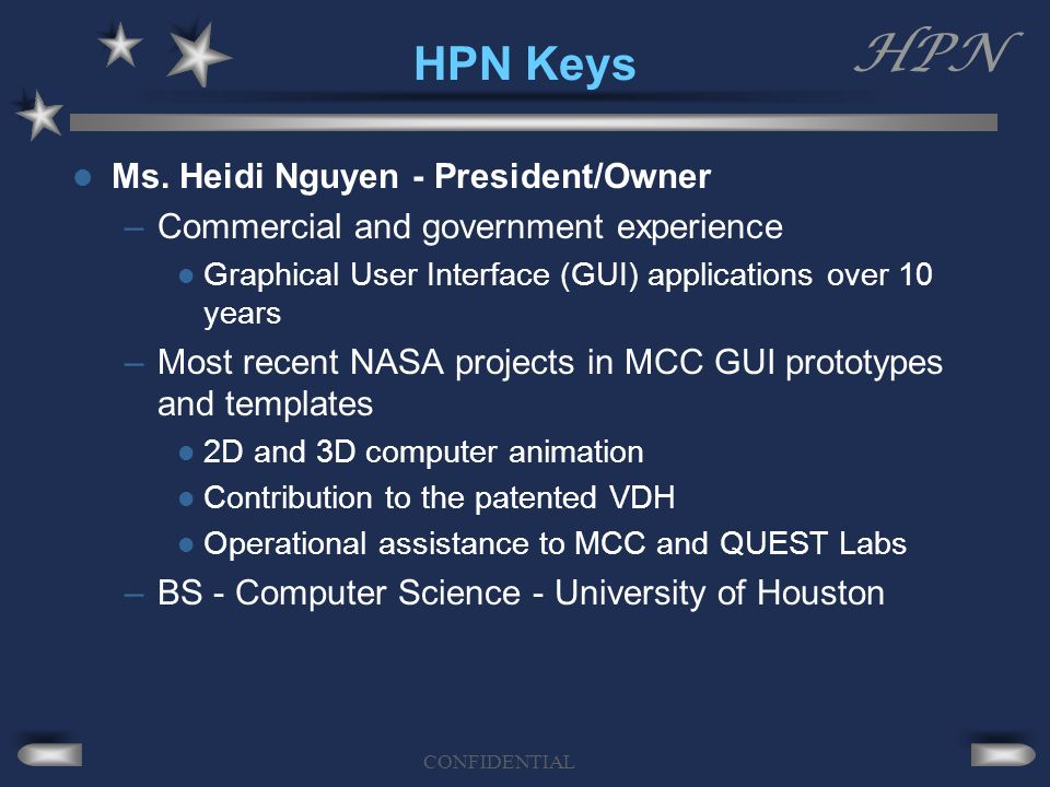 HPN CONFIDENTIAL HPN Keys Ms.