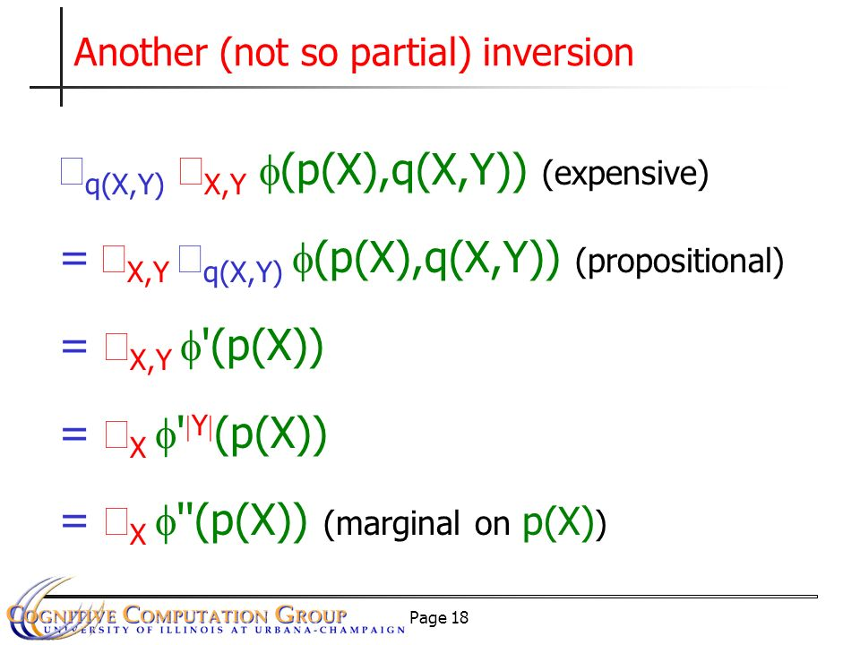 Page 18 Another (not so partial) inversion q(X,Y) X,Y (p(X),q(X,Y)) (expensive) = X,Y q(X,Y) (p(X),q(X,Y)) (propositional) = X,Y (p(X)) = X Y (p(X)) = X (p(X)) (marginal on p(X) )