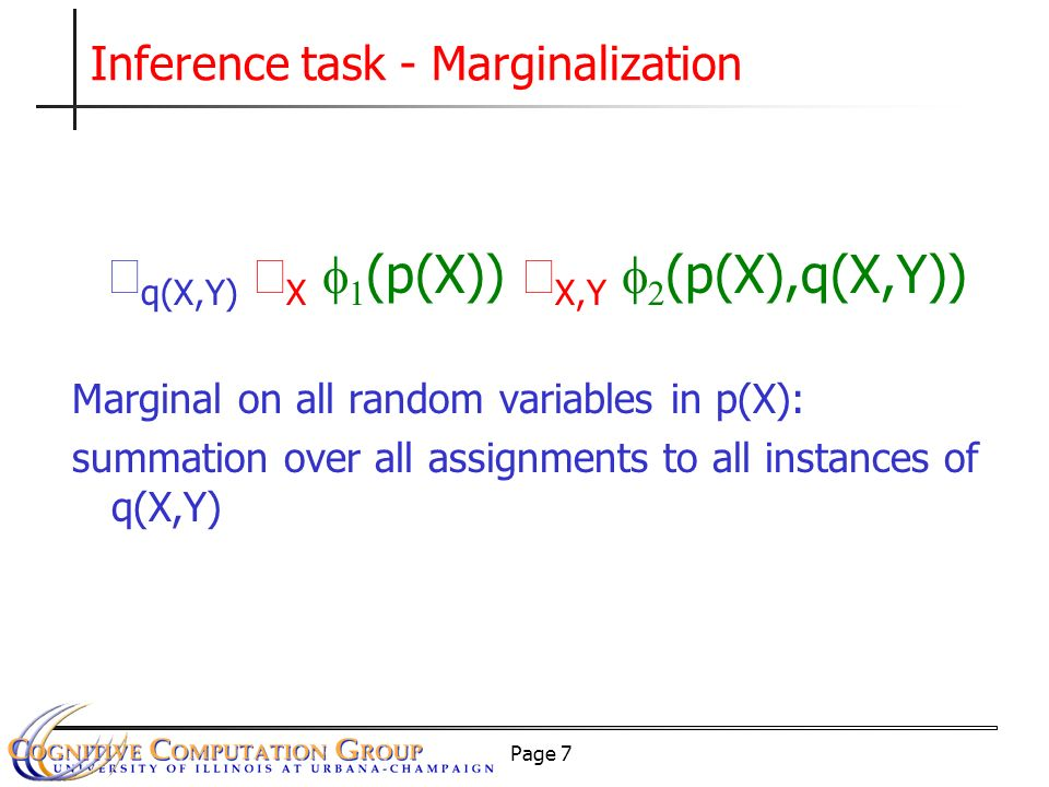 Page 7 Inference task - Marginalization q(X,Y) X (p(X)) X,Y (p(X),q(X,Y)) Marginal on all random variables in p(X): summation over all assignments to all instances of q(X,Y)