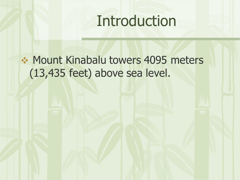 Introduction Mount Kinabalu towers 4095 meters (13,435 feet) above sea level.