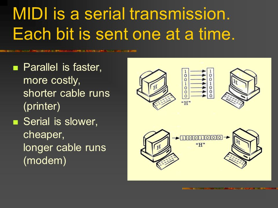 MIDI is a serial transmission. Each bit is sent one at a time.