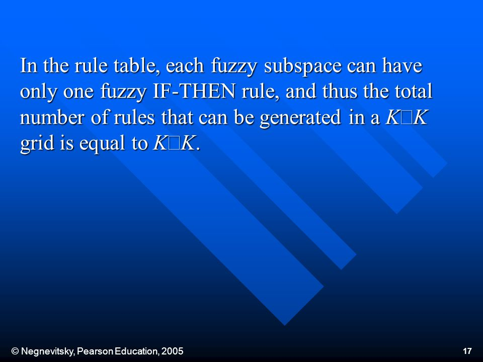 © Negnevitsky, Pearson Education, In the rule table, each fuzzy subspace can have only one fuzzy IF-THEN rule, and thus the total number of rules that can be generated in a K K grid is equal to K K.