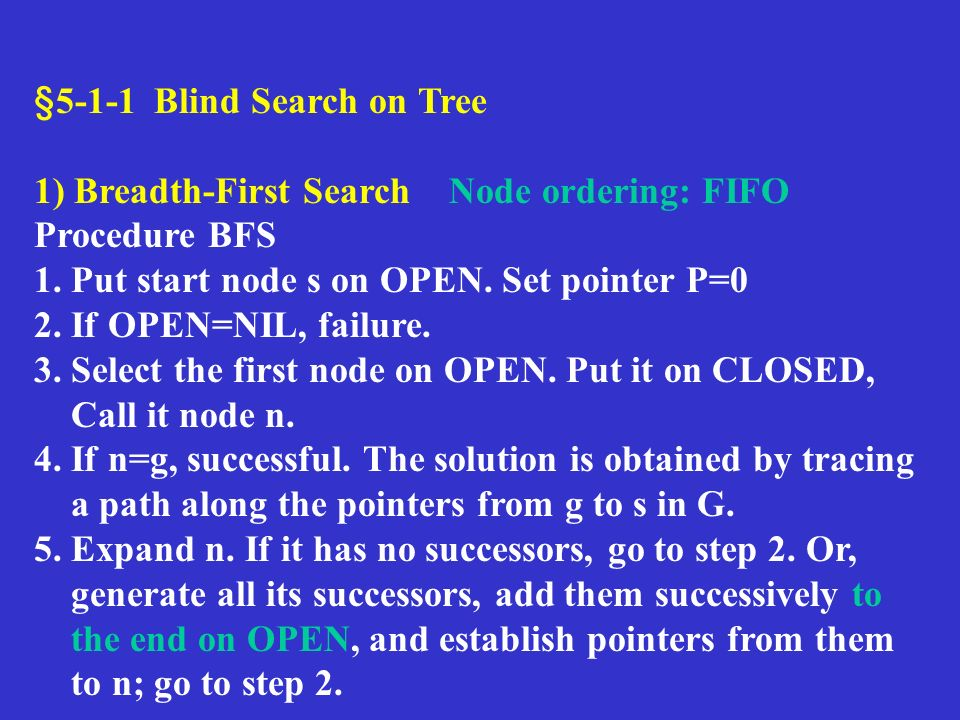 §5-1-1 Blind Search on Tree 1) Breadth-First Search Node ordering: FIFO Procedure BFS 1.