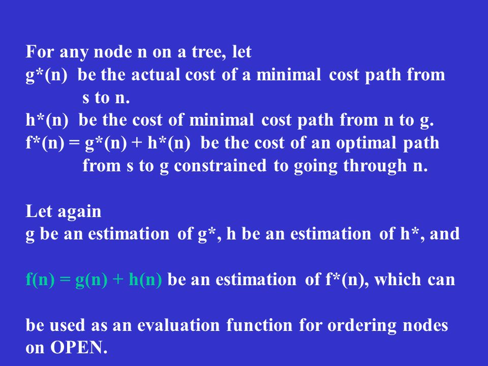 For any node n on a tree, let g*(n) be the actual cost of a minimal cost path from s to n.