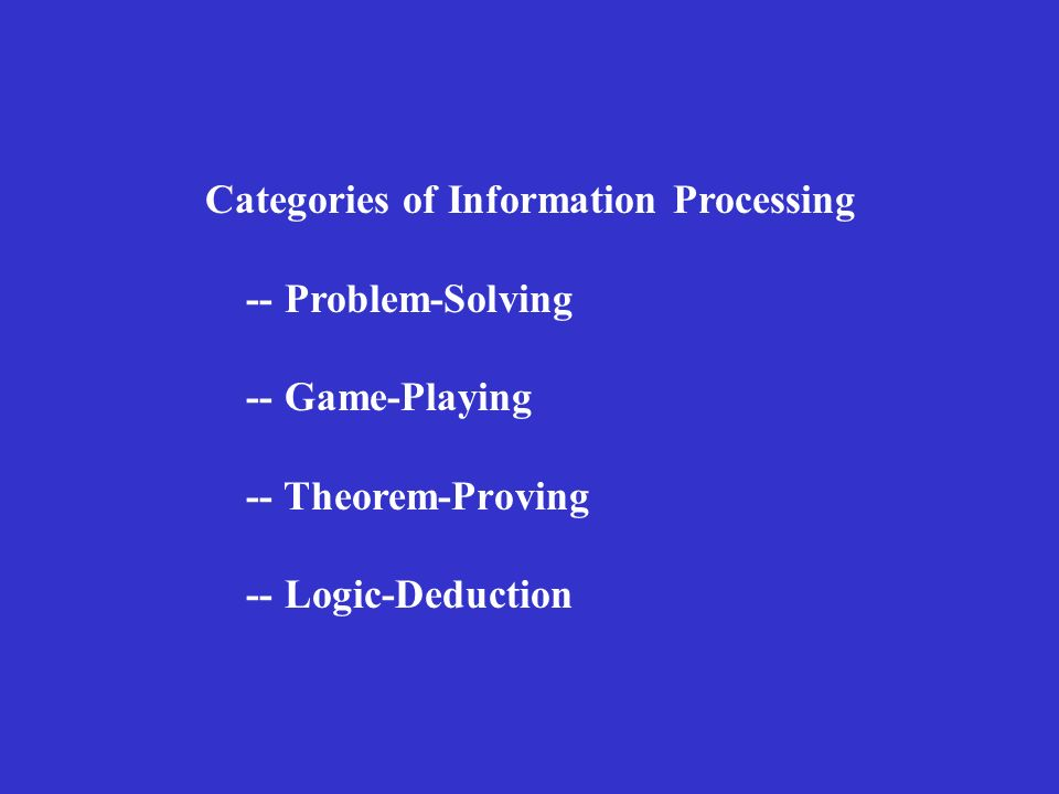 Categories of Information Processing -- Problem-Solving -- Game-Playing -- Theorem-Proving -- Logic-Deduction