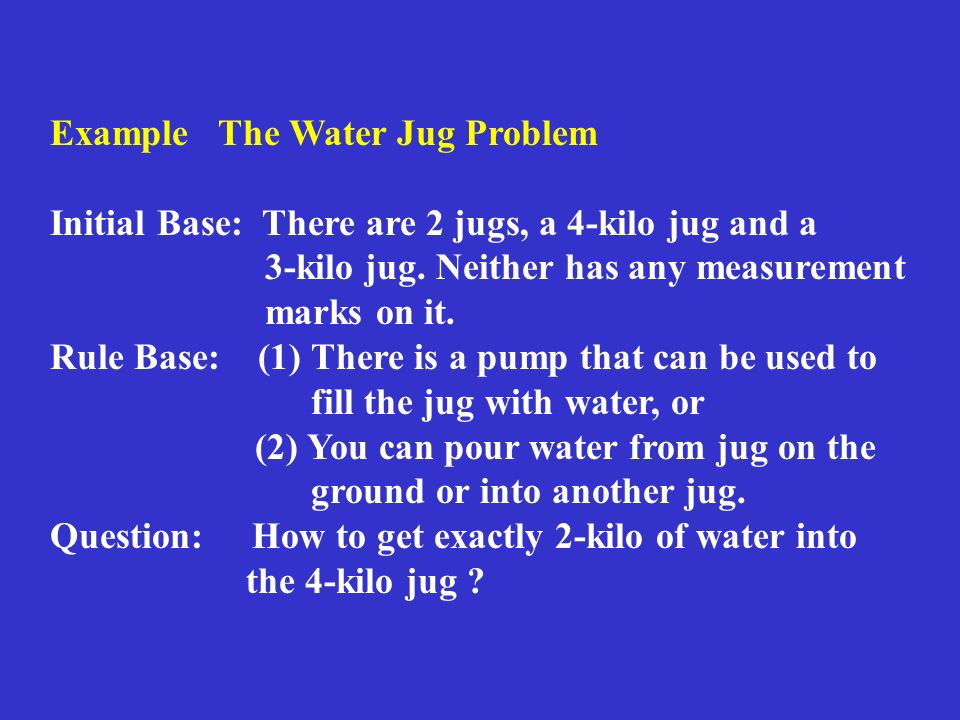 Example The Water Jug Problem Initial Base: There are 2 jugs, a 4-kilo jug and a 3-kilo jug.